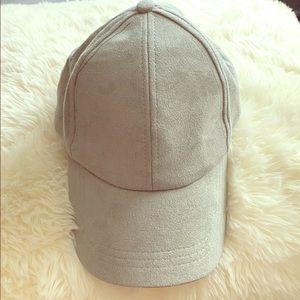 Free People Grey Suede Baseball Cap Hat